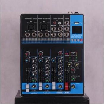 WEITESI 4路小型调音台支持蓝牙U盘播放立体声道输入有线话筒