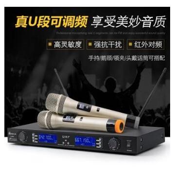 专业无线一拖二U段KTV专用舞台会议家庭唱歌麦克风话筒
