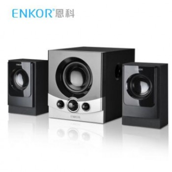 恩科E600 电脑多媒体有源音箱木质2.1台式笔记本音响 高低音炮