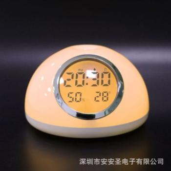 卧室充电时尚创意智能LED唤醒灯自然声唤醒灯七彩闹钟