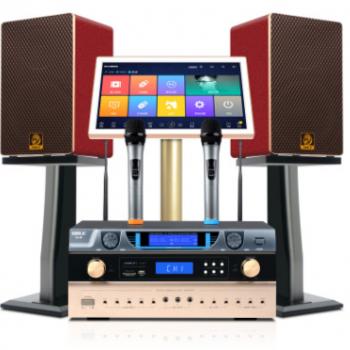 狮乐家庭卡拉OK音响套装 KTV点歌一体机K5音箱功放话筒娱乐系统