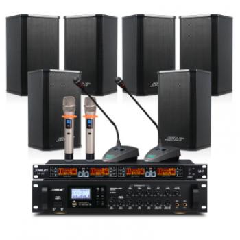 会议音响套装六通道功放机AV8820+壁挂音箱BX108话筒背景音乐设备