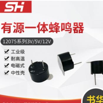厂家供应电磁式12075有源一体 有源电磁式蜂鸣器 量大价优