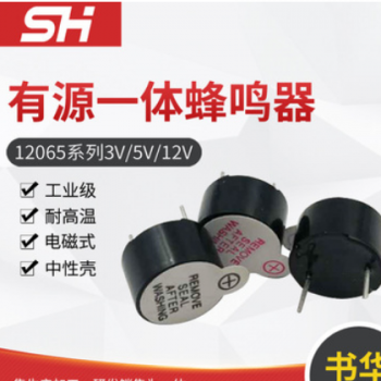 12065有源一体蜂鸣器 3V 5V 12V电子蜂鸣器 耐高温蜂鸣器