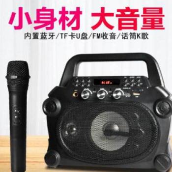 德声宝D119无线麦克风话筒全民K歌蓝牙家用音响户外抖音插卡锂电