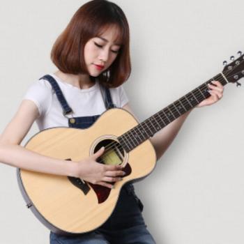 36寸民谣吉他云杉玫瑰木入门木吉他学生培训机构可订制可刻字吉他