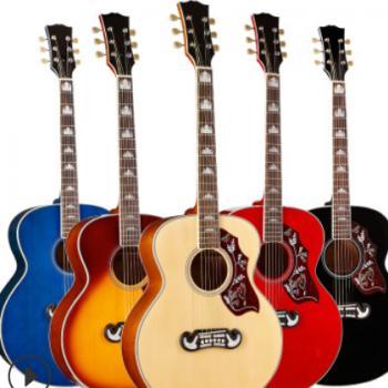 38寸42寸珍宝桶合板民谣吉他亮光木吉他初学入门高档彩琴厂家批发