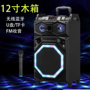 厂家直销12寸七彩灯蓝牙拉杆广场舞音箱U盘插卡播放户外演出音响