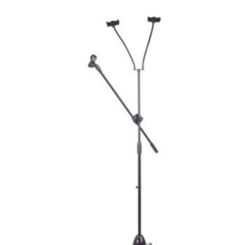 落地式电容麦克风话筒支架 舞台K歌全金属伸缩万向防震三脚架