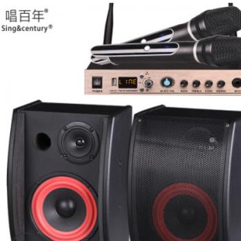 唱百年 MC-01无线话筒一拖二收音机功能卡拉okk歌麦克风U段蓝牙