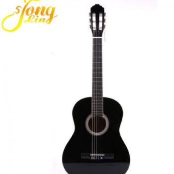 通灵古典吉他批发 椴木 弹拨类乐器黑色木吉他 39寸