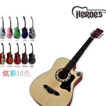heroes民谣吉他38寸彩弦木吉他直销缺角练习吉他吉