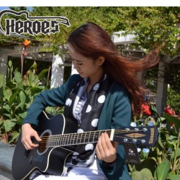 HEROES英雄41寸民谣吉他椴木吉他玫瑰木指板缺角