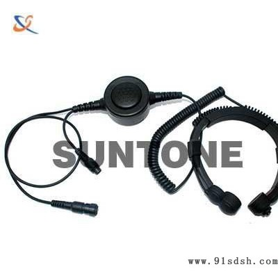 对讲机喉振式耳机 重型喉振耳机 大圆PTT降噪耳机