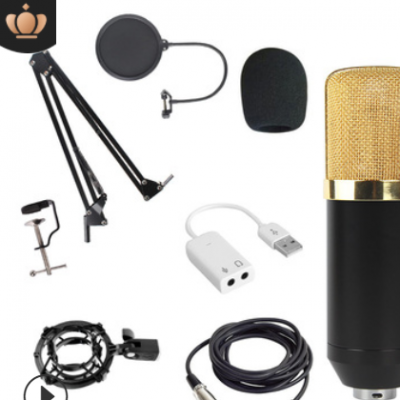 BM800电容麦克风套装 支架防喷电脑录音声卡直播设备有线话筒跨境